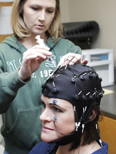 graduate student attaching research cap to subject