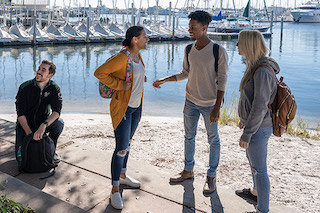 Students along the waterfront