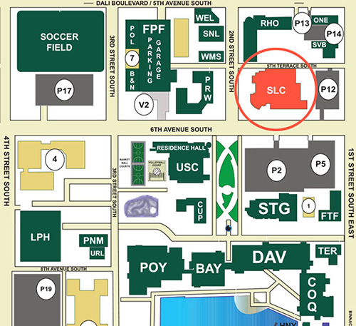 campus map identifying Career Center's location
