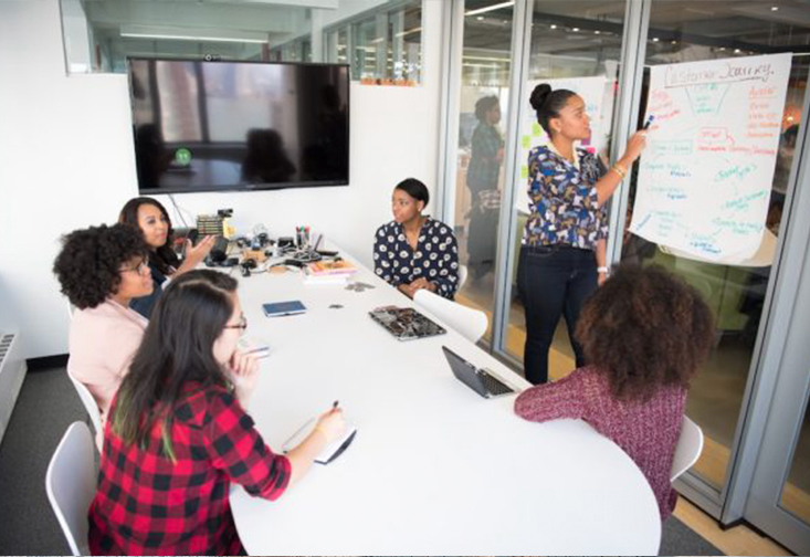 women sitting at a conference room table working together