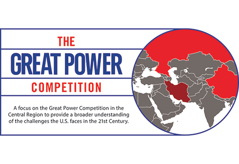 Picture of a globe with the text: The Great Power Competition. A focus on the Great Power Competition in the Central Region to provide a broader understanding of the challenges the U.S. faces in the 21st Century.
