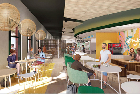 Artist rendering of people eating at the new dining facility