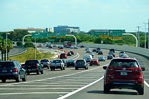 Traffic on a highway in Tampa Bay